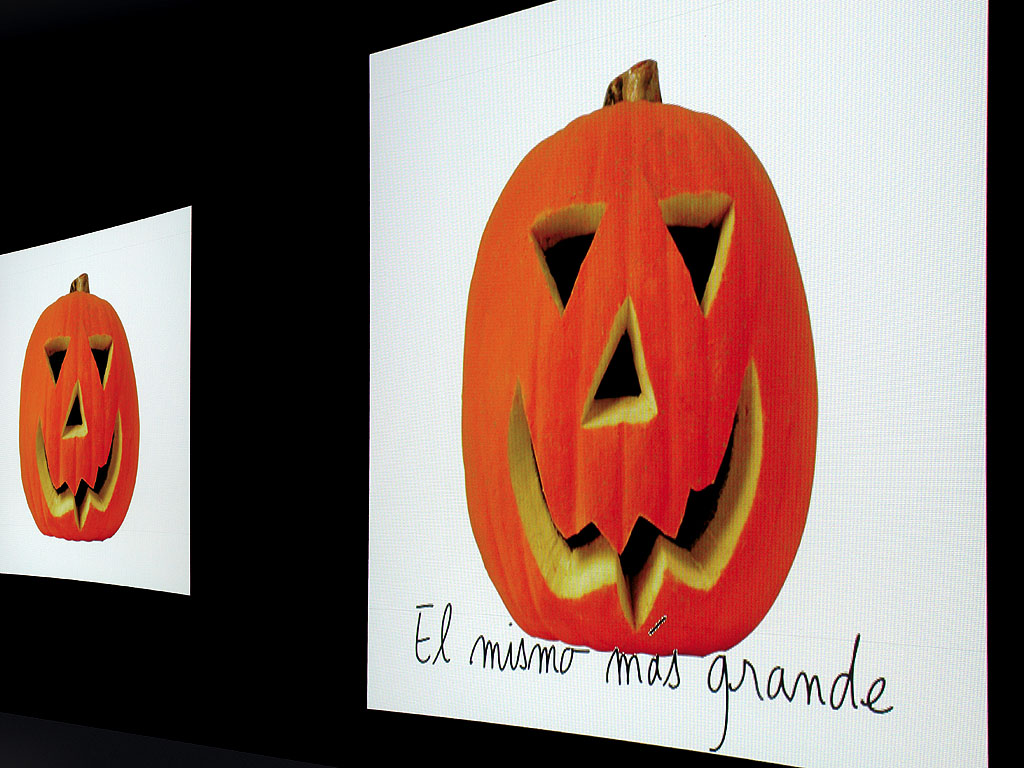 Claude Closky, 'El mismo más grande [The same, bigger]', 2001, 2 projectors, computer, video signal splitter 'Y', spray paint, 400 x 10 000 cm, loop. Exhibition view 'The body and Sin, 1st biennial of València', Museu de Bellas Arts, València. 10 June - 20 October 2001. Curated by Achille Bonito Oliva